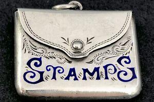 Sterling silver and enamel stamp case Birmingham 1905