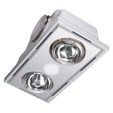 Bathroom 3 in 1 LED Light Exhaust Fan Heater Heller Ceiling White 2 Heat Globes