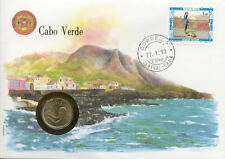superbe enveloppe CAP VERT CAPE VERDE pièce monnaie 1 ESCUDO 1980 UNC NEW timbre