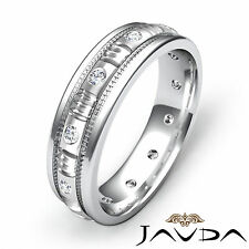Mens Round Diamond Eternity Wedding Band Platinum 950 Solid Grooved Ring 0.25Ct