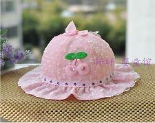 Baby Kids Girls Infant Lace Cherry Pink Cute Beach Outdoor Bucket Sun Hat gift