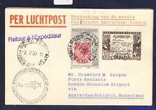 46651) KLM FF Amsterdam - London 5.7.60, Karte ab Italien
