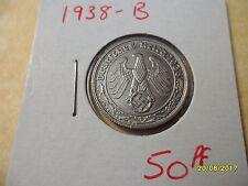 German 50 Reichspfennig 1938-B Scarce Third Reich Nickel Coin WW2 pf