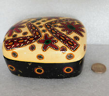 Kashmir Indian papier mache trinket box Australian aboriginal design Kaltjiti