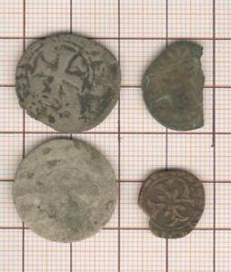 Penique 1627+3 Monedas De Billon Frustrado ( Dont Denario Parisis Juan II Buena