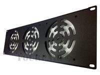 """3 Fan (120mm) 19"""" Inch Rack Mount Cooling Panel DJ Rack Case Server Cabinet - 3U"""