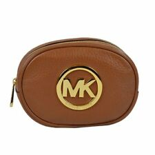 fc9d5f4c9a17 NEW MICHAEL KORS FULTON LUGGAGE BROWN LEATHER+GOLD TONE COSMETIC CLUTCH BAG