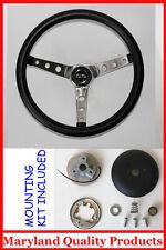 "Chevelle Camaro Nova SS Cap Grant Black Steering Wheel 15"" Round Holes SS spokes"
