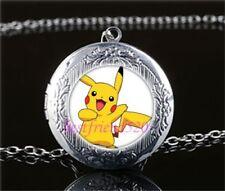 Pokemon Pikachu Cabochon LOCKET Pendant Silver Chain Necklace USA Ship #141