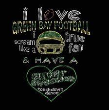 Green Bay Packers  Football I Love Rhinestone Iron on Transfer     MZ6F