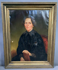 19thC Antique VICTORIAN Era LADY PORTRAIT Old MARYLAND ESTATE Oil PAINTING Frame