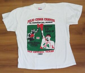(LOT 2) JULIO CESAR CHAVEZ Original 1992-1993 Sz XL T-SHIRT Light Yellowing WEAR