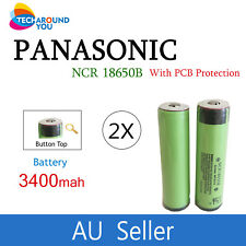 2x Panasonic NCR18650B 3400ma Lithium Li-Ion Button Top batteries PCB protection