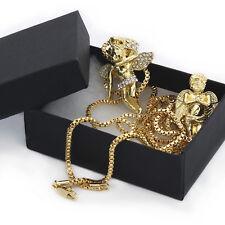 "Men 14k Gold Plated High Fashion 2 pcs set of Angels 3mm 24"" Box chain Bundle"