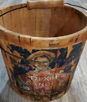 Vintage Wood Bucket Dixie Candies Candy Wired Band With Handle Collectible HTF
