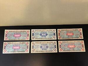 1944 Germany Allied Stack of 6 Bills - 2 Each of 100 Mark, 50 Mark & 20 Mark