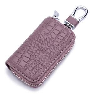 Car Key Holder Cover Key Chain Bag Genuine Leather Remote Fob Zipper Case US