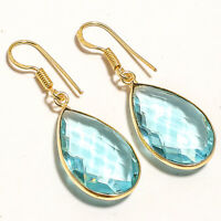 """Blue Topaz Gold Plated Gemstone 925 Sterling Silver Jewelry Earring 1.72"""""""