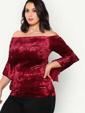 NEW..Sassy Plus Size Burgundy Velvet Off the Shoulder Bardot Top..Sz14/2XL