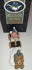 WILLIRAYE STUDIO 1997 Set/2 DOG Pulling GIRL IN WAGON WW2725 Box CERTIFICATE Tag