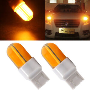 2Pcs 7443 LED Amber 7444NA 48SMD COB LED Silica Turn Signal Brake Light 12V 24V
