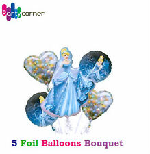 PRINCESS CINDERELLA PARTY SUPPLIES 5 X FOIL BALLOONS BOUQUET