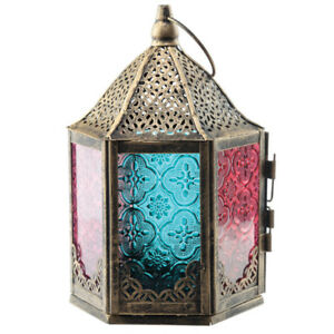 6 Sided Glass Moroccan Style Metal Standing Vintage Lantern Home Antique Gift