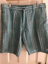 Men's Billabong Twill Walking Short, Aqua Blue/White Plaid Size 34
