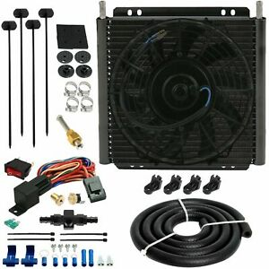 30 ROW TRANS-MISSION OIL COOLER FAN 6AN IN-LINE HOSE 180'F THERMOSTAT SWITCH KIT