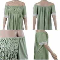 NEW Ex Store Ladies KHAKI GREEN Bardot Off Shoulder Jersey Top Size 10 - 22