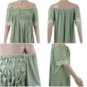 NEW Ex Store Ladies KHAKI GREEN Bardot Off Shoulder Jersey Top Size 10 - 22