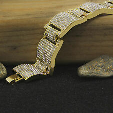 Men's 14K Gold PT Dome Bracelet Fully Cz Finish Hip Hop Style Link 8.5""