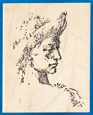 Man's Face in Profile Rubber Stamp Fine Art Sketch Portrait with Hat and Earring