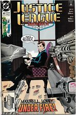 """Justice League America #41 (Aug 1990, DC) """"Maxwell Lord...Under Fire!"""" NM"""