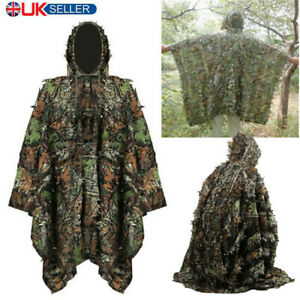 Poncho Adult 3D Gillie Suit Woodland Camouflage Hunting Cloak Tactical Clothes