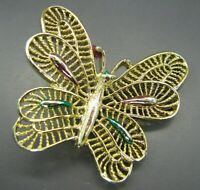 Vintage GOLD TONE GERRY'S BROOCH PIN Whimsical Butterfly ENAMEL TRIM PINK GREEN