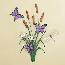 Purple Butterfly Dragonfly Cattail Flower Metal Wall Art Hanging Home Decor