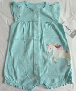 Baby girls clothes 3 months carters  unicorn snap-up romper new with tags