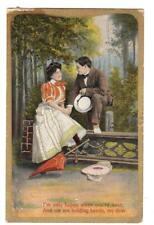 G54.Vintage Greetings Postcard.Romantic Couple. I'm only happy when you're near.