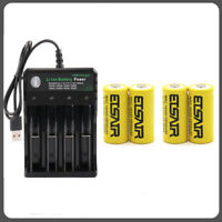 4x 2800mAh 16340 CR123A Rechargeable Battery 1xUSB Universal Intelligent Charger