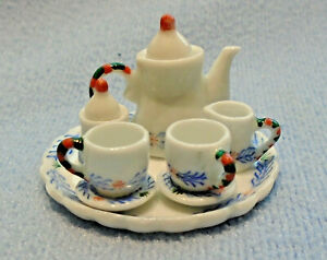 1:12 Scale 16 Piece Ceramic Green /& White Soup Set Tumdee Dolls House Accessory