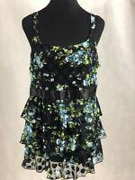 INC Women's Black Floral Print Shoulder Strap Ruffle Top Size 1X