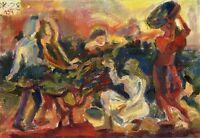 """Postsowjetischer Realist Expressionist Öl Leinwand """"Ernte"""" 50 x 40 cm"""