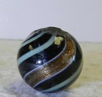 #12239m Large German Handmade Black Base Banded Lutz Marble .84 Inches