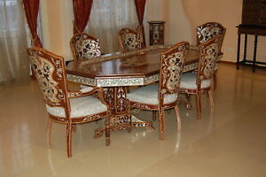 Large Mother of Pearl Dining Table for 8, Walnut and Rose Wood