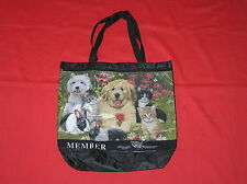 HUMANE SOCIETY TOTE BAG GYM BEACH TRAVEL SHOPPING DOGS CATS BUNNIES BLACK