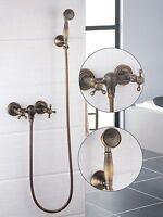 Antique Brass Bathtub Wall Mount Mixer Faucet 2 Handle Handheld Shower Spray Tap