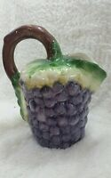 Hand Painted Pitcher With Grape Motif Made In Portugal Majolica