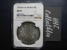 NGC Mexico 1875 8 Reales Oaxaca Oa AE Mint Silver Coin Scarce MS61
