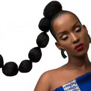 Synthetic Kinky Straight Hair Puff Bun Bubble Ponytail African American Wrap